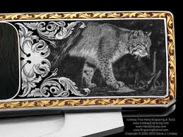 gold inlay engraving lake made knives engraved by steve lindsay