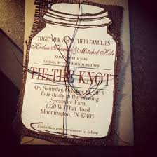 wedding invitations knot jar tie the knot wedding invitation with burlap