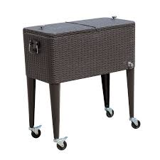 patio beverage cooler cart outsunny 80 qt rolling chest drink cart patio cooler