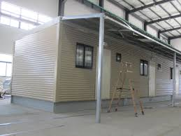 fully decorated finished bunk prefabricated house yellow