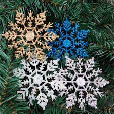 6pcs pack plastic glitter snowflakes ornaments for