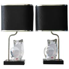 Black And Crystal Table Lamps Pair Of 1960s Orrefors Swedish Crystal Table Lamps At 1stdibs