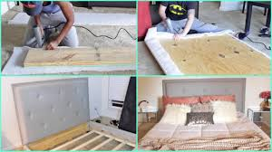 How To Build A Wood Platform Bed by Diy Building A Tufted Queen Size Bed From Scratch Youtube
