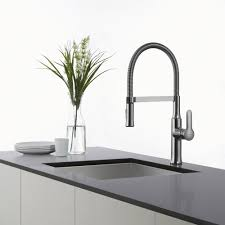 spiral kitchen faucet kraus kpf1640ss single lever flex commercial style kitchen faucet