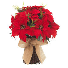 home accents holiday 20 in red poinsettia bundle with burlap bow