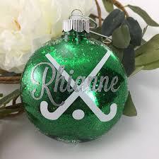 field hockey sticks glitter ornament personalized glitter