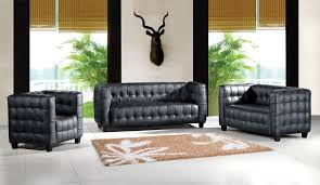 modern tufted leather sofa 4 piece top grain italian tufted leather living room set kubus black