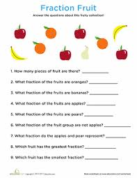 fraction fruit worksheets math and math fractions