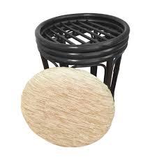 Basket Ottoman by Ottoman Pouf Stool Romeo Color Glossy Black With Cushion Handmade
