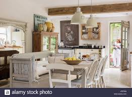 open plan rustic kitchen diner with french scandinavian feel