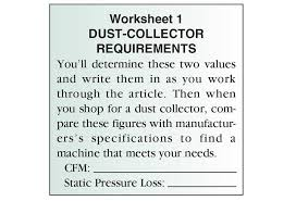 figure dust collection needs by the numbers wood magazine