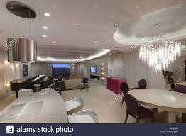 Bar In Dining Room Chrome Light Above Breakfast Bar In Large Open Plan Living And