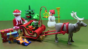 playmobil christmas with santa sleigh reindeer elf snowman toys