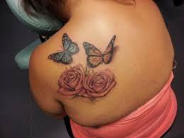 3d flowers and butterflies tattoos back shoulder ideas