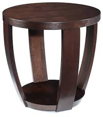 Round Dark Wood Coffee Table - side table wooden round three legs sofa side table tall coffee