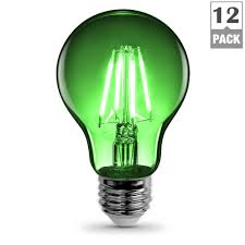 colored fluorescent light bulbs feit electric 25w equivalent green colored a19 dimmable filament led
