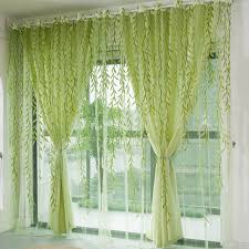 Green Sheer Curtains 1pcs Green Willow Sheer Curtain For Living Room Window Blackout