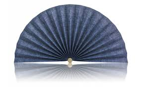 decorative fans blue denim with hashes pleated decorative fans