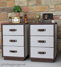 pb inspired trunk bedside table makeover in the garage