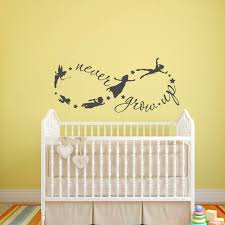 peter pan wall decal never grow up quote fairy silhouette details peter pan wall