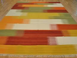 10 X 20 Rug 10 U0027 X 14 U0027 Hand Woven 100 Wool Flat Weave Striped Design Durie