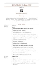 Warehouse Clerk Resume Sample by Meat Clerk Resume Samples Visualcv Resume Samples Database