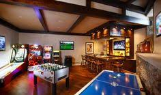 Game Room Basement Ideas - rustic game room like the french doors with windows to the side
