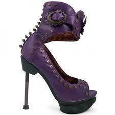steampunk ankle cuff steam machine pump in purple peep toe gothic shoe