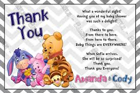 baby shower thank you cards novel concept designs winnie the pooh gender neutral baby