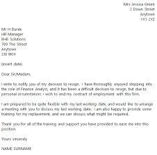 finance analyst resignation letter example toresign com