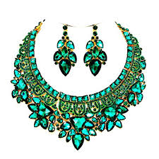 emerald green fashion necklace images Affordable wedding jewelry emerald green color austrian crystal jpg