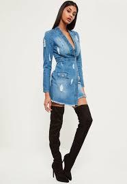 blue shredded denim maxi dress missguided