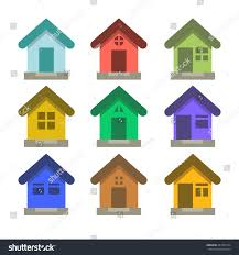 House Flat Design Set Flat Vector Houses House Logo Stock Vector 481581874