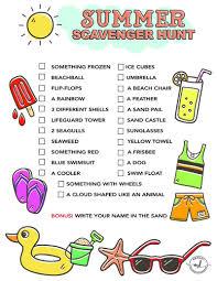 summer scavenger hunt free printable for kids momdot