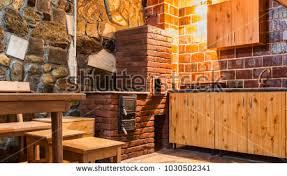kitchen wooden furniture rustic kitchen wooden furniture brick oven stock photo 1030502341
