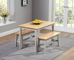 grey oak dining table and bench buy the chiltern 115cm oak and grey dining table set with benches at