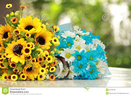 Beautiful Bouquet Of Flowers Beautiful Bouquet Of Bright Yellow And Blue Flower Stock Photo