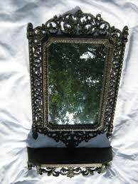 vtg 1971 homco home interior mirror u0026 shelf 2041 u0026 3054 blk u0026 gold