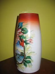 Antique Hand Painted Vases Vintage Thin Milk Glass Hand Painted Oriental U0026 Floral Art