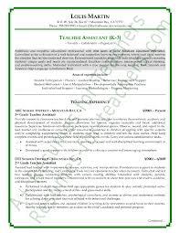 sample resume for a teacher aide teacher job description job