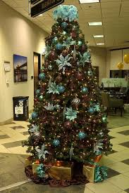 brown christmas tree large christmas tree decorations teal and gold baubles christmas tree