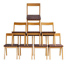 jens risom birch dining chairs set of 8 chairish