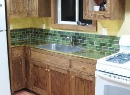 green subway tile backsplash kitchen floor decoration