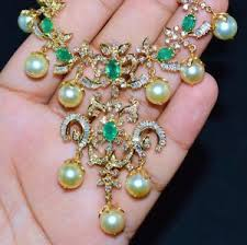 pearls necklace ebay images Certified natural 94cts vs g diamond emerald 18k gold south sea jpg