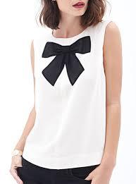 white sleeveless blouse sleeveless blouse black white bow tie