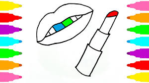 how to draw lip and lipstick coloring pages for children learn