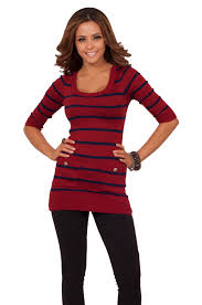 stripped 3 4 sleeves sweater dress top pockets fitted casual