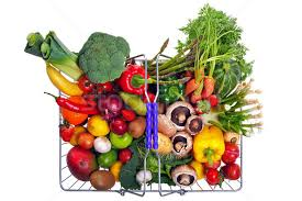 fruit and vegetable basket shopping basket fruit and vegetables isolated on white stock photo