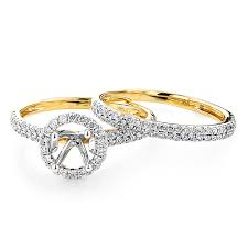 gold bridal set delicate halo diamond engagement ring mounting bridal set