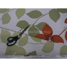 British Upholstery Fabric Leafs Pattern Tangerine Green Colour Print Cotton Fabric Curtains